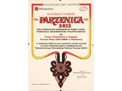 "The Małopolska Tourism Chamber has granted President Stanisław Gągała the ""Parzenica 2012"" honorary award"