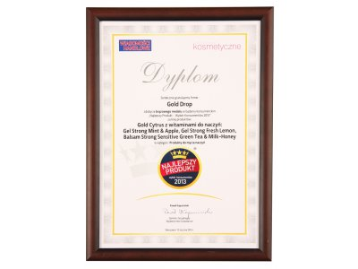 "The Best Product – Consumers' Choice 2013"" Bronze Medal for the line of GOLD CYTRUS washing-up products with vitamins:"