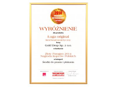 Złoty Paragon (Golden Receipt), the Polish Merchants' Award 2014 contest for Ługa Original synthetic starch in the category of washing and rinsing products