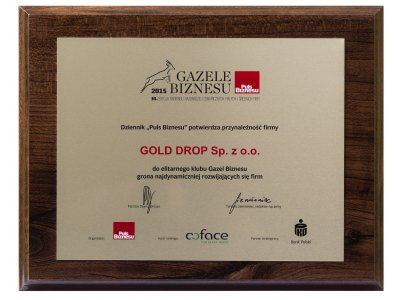 "Gold Drop was again listed among ""Business Gazelles"", a ranking published by ""Puls Biznesu"" business magazine."