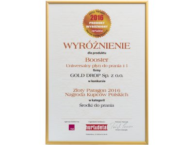 Golden Receipt – Polish Merchants' Award 2016 for Booster multi-purpose laundry liquid in the category of laundry detergents
