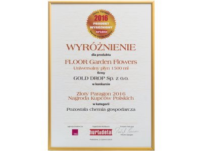 Golden Receipt – Polish Merchants' Award 2016 for FLOOR Garden Flowers multi-purpose cleaner 1.5 L in the category of household chemicals