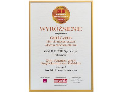 Golden Receipt – Polish Merchants' Award 2016 for Gold Cytrus Aloes&Avocado washing-up liquid 500 ml in the category of dishwashing agents