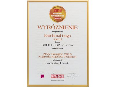 Golden Receipt – Polish Merchants' Award 2016 for Ługa Original synthetic starch liquid in the category of fabric conditioners